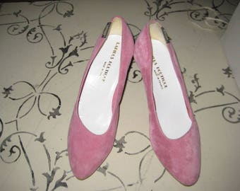 Pink Suede High Heels/Made in France/NOS