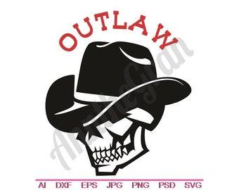 Cowboy Skull - Svg, Dxf, Eps, Png, Jpg, Vector Art, Clipart, Cut File, Outlaw SVG