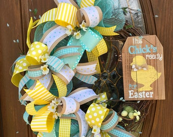 Easter Ribbon Wreath - Rustic Easter Grapevine Wreath - Yellow Easter Door Wreath - Easter Deco Mesh Wreath - Front Door Easter Wreath