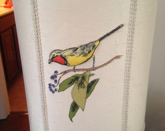 One of a kind hand stiched in 1930's basket with beautiful bird MINT condition