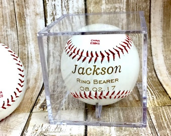 Ring Bearer Gift, Personalized Laser Engraved Baseball, Custom Baseball, Ring Security, RingBearer Gift, Junior Groomsman, Baseball Gift
