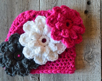Pink Baby Hat, Baby Beanie, Crochet Hat with flowers, Pink White Gray Baby Hat
