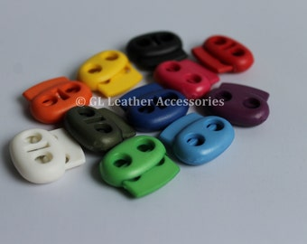 4 x Plastic Oval Shape Cord Locks Stoppers Toggle 11 Colors