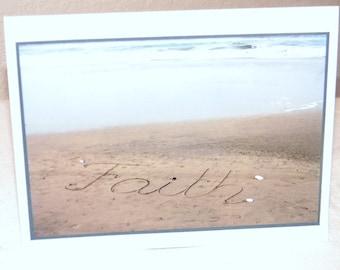photo card, FAITH, sand, beach, ocean, California