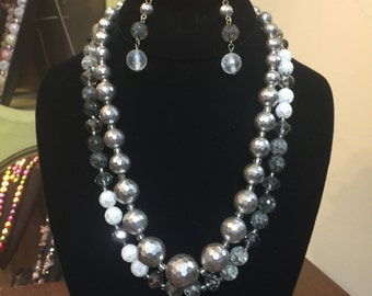 2-Strand Silver Bling Necklace & Earring Set