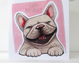 French Bulldog Happy Birthday Card - Pink | Frenchie Birthday Card | French Bulldog Card
