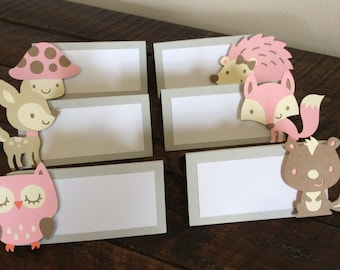 Woodland Animal Placecards.  Woodland Birthday Party.  Woodland Tableware