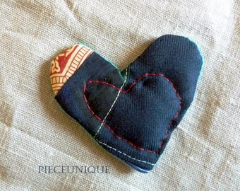 Heart shaped patchwork brooch with red handstitched heart size small