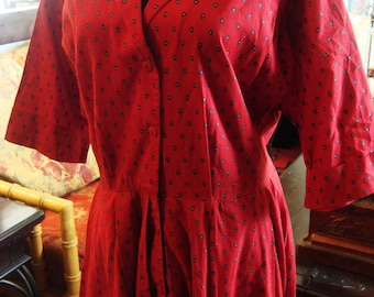 Vintage 1960's Red Cotton Short Sleeve Shirtwaist  Dress