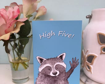 High Five Raccoon Celebration, Congratulations Blank Greeting Card, A6 sized, White Envelope, Happy Cute Trash Panda Illustration