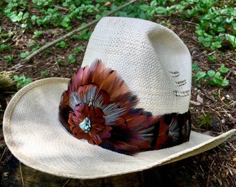 Feather Hat Band with Turquoise - Wild Turkey and Pheasant feathers in black, burgundy and blue
