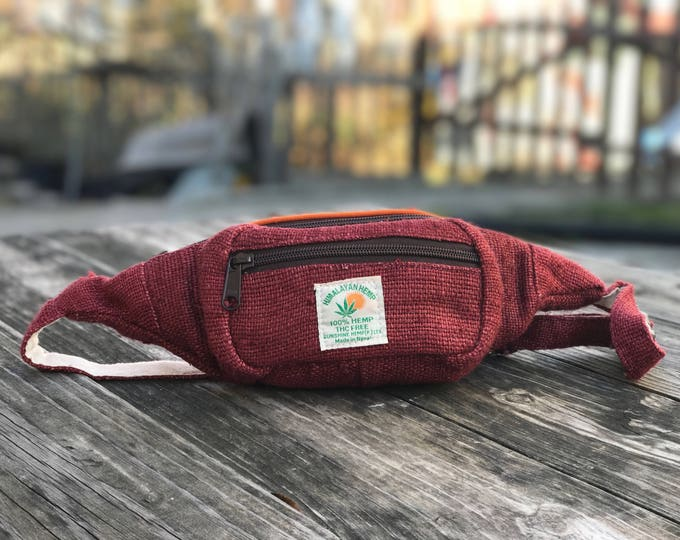 Featured listing image: Handmade Red Hemp fanny pack