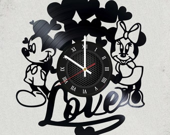 "WALT DISNEY Minnie Mouse and Mickey Mouse LOVE VINyL RECoRD CLoCK made from 12""  Vinyl Record best gift for kids bedroom gift girls children"