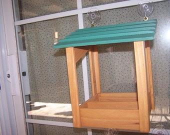 Suction Cup Window Feeder Teal Roof
