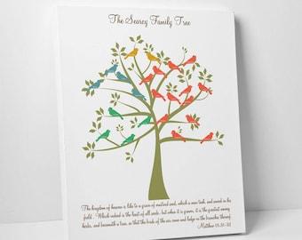 Family Tree Gift Print, Matthew 13:31-32, Anniversary Gift, Family Tree Decor, Parent's Gift, Grandparents Gift, Parent's Christmas Gift