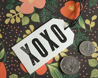 XOXO – SINGLE Letterpress Gift Tag – Wedding, Birthday, Graduation, Holiday, Anniversary, Handmade Gift Tag, Rustic Vintage Stationery