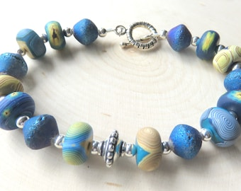 Art Inspired Bracelet, Blue Polymer Clay Beads, Sterling Silver Toggle Clasp, Handmade Fashion Bracelet, Blue Abstract Design, Unique Gift