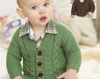 Boys Cardigan,  Sirdar  1265 Knitting Pattern Knitting , DK pattern, to fit birth to 7 years,  v neck or shawl collar Cardigan