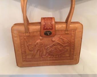 Vintage Hand Tooled Leather Purse Mont-Abur Henco En Mexico