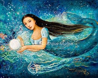 Mermaid art print, Mystic Mermaid-Pearl-blue giclee print on canvas or paper by Shijun Munns-Fantasy art-oil painting-Signed