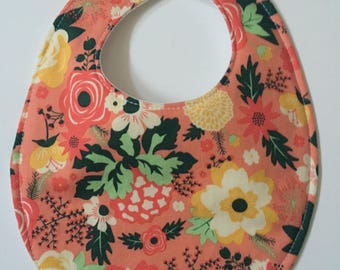 Fancy Coral Bib Baby Bib with Embroidery