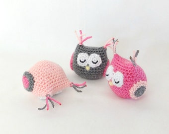 Baby girl amigurumi owl. Handmade crochet animal toy. Unique gift for children's birthday or baby shower.