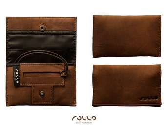 Tobacco Pouch leather, designed for the hand rolling for filter, rolling papers and tobacco
