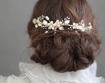 Bridal headpiece  - Reverse floral charm headpiece - Style 702 - Ready to Ship