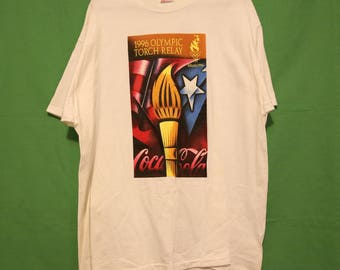 VTG 1996 Olympic Relay Shirt XL Made in USA Olympics Torch Retro Vintage 90s America Atlanta Coca Cola