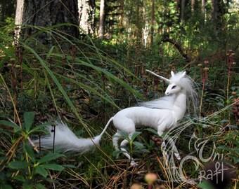 FOR EXAMPLE! Last Unicorn OOAK poseable art doll resin, faux fur, gem, acrylic, paint, glass, clay