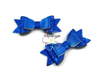 "Royal Blue Glitter Leather Bows - 3.5"" Stacked Shimmery Bow with Tails - Faux Leather  Double Loop DIY Bows Headband Supplies Set of 2 Bows"