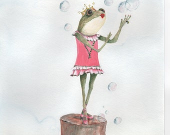 "Blank Note Card, Note Card, Greeting Card, Art Card,  ""Frog Princess"",  Stationary, Birthday Card, Whimsical Card"