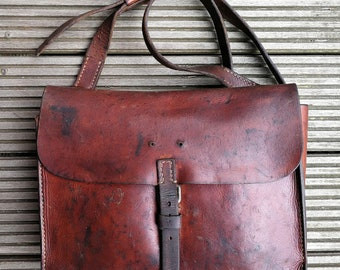 Old leather bag, courier Bag Messenger bag of the Swiss Army 1954