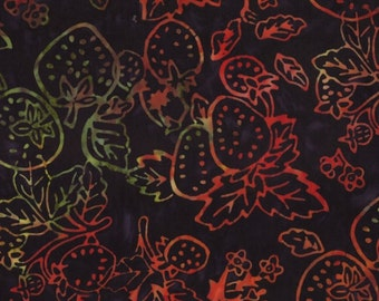 CLEARANCE - Moda Fabrics - Eat Your Fruits and Veggies Batik - Juicy Strawberries on Black Batik