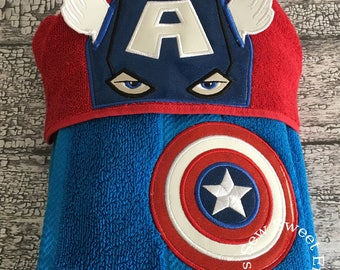 American Hero Hooded Towel/Towel/ With Or Without Personalization/Hero Towel