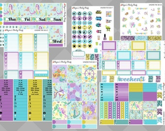Under the Sea DELUXE Kit | ocean, sea, mermaid, sea life, summer, beach, vacation | Weekly Planner Stickers sized for Erin Condren Vertical