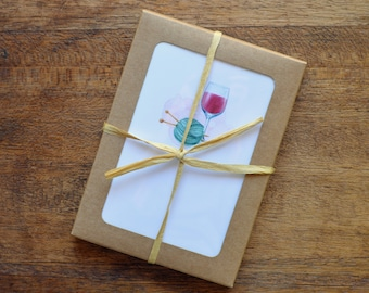 Note Cards / Greeting Cards / Gift Cards / Gift Enclosures / cards for knitters / boxed set of 8 with envelopes