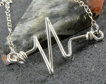 Heartbeat Pulse Necklace, Sterling Silver, hand shaped wire heart pendant, minimalist, simple, layering, modern, holiday gift for her, 4037