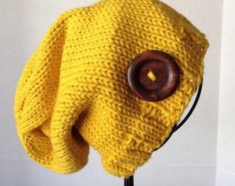 Mustard Yellow Knit Hat, Knit Cotton Hat, Women's Adult Hat, Natural Fiber Hat, Women's Slouch, Slouch Hat, Mustard Slouch, Luxe Women's Hat