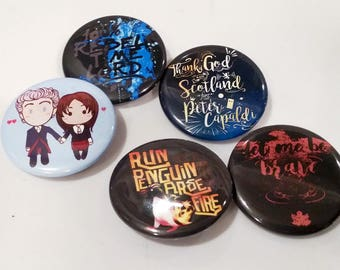 Doctor Who Inspired Pinback Buttons