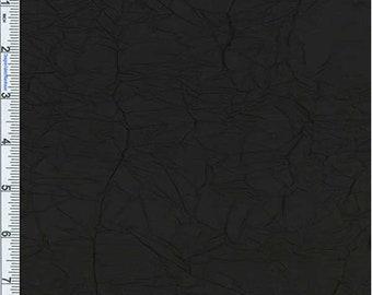Black Crushed Silk Taffeta, Fabric By The Yard