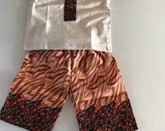 Boys African print traditional shorts & top set