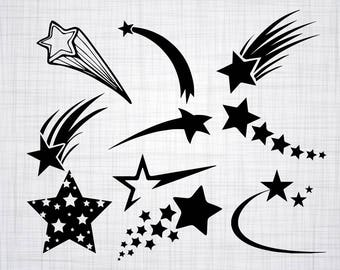 Shooting Star SVG Bundle, Shooting Star SVG, Shooting Star Clipart, Cut Files For Silhouette, Files for Cricut, Vector, Svg, Dxf, Png, Decal