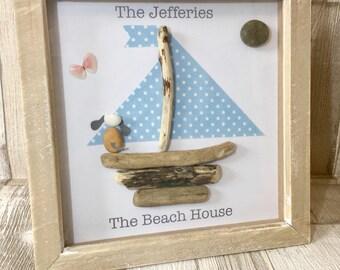 Handmade Pebble Art, Pebble Art Boat, Pebble Picture Boat, Pebble Gifts, Framed Pebble Pictures, Driftwood Art, Driftwood Picture,