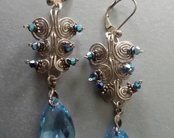 E2993 sterling silver earrings with Swarovski crystals