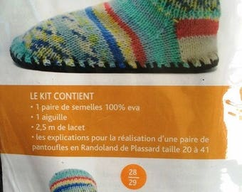 Kit children soles plassard T28/29 to knit your slippers or booties