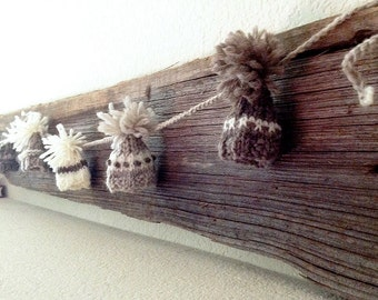 Knitted Garland- 8 Knitted Caps- Made To Order- 5 Ft Long- White, Taupe, Brown- Dolls, Rustic