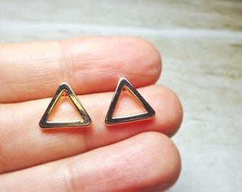Rose Gold Open Triangle Stud Earrings, Dainty Earrings