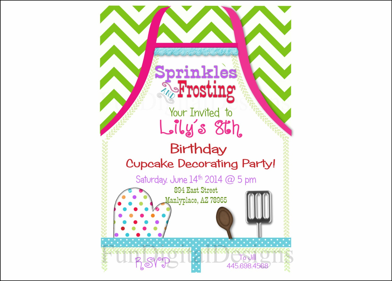 Apron cupcake decorating birthday party invitation printable zoom monicamarmolfo Image collections