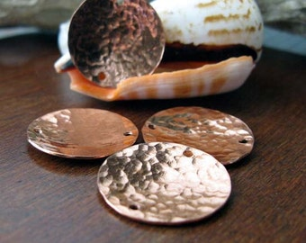 Copper handmade jewelry findings. Textured hammered domed 19mm discs. Artisan reflective coins.  AGB Corinna 2 pieces. Made to order.